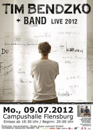 Tim Bendzko und Band live im Juli in der Campushalle Flensburg