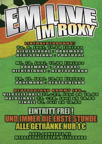 Fussball EM im Roxy Concerts Flensburg – alle wichtigen Spiele