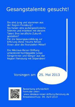 Gesangstalente gesucht: Stipendium Nikolaus Reiser Stiftung