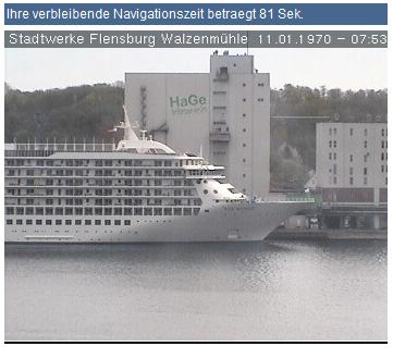 Kreuzfahrtschiff MS World in Flensburg angekommen – hier in der Webcam