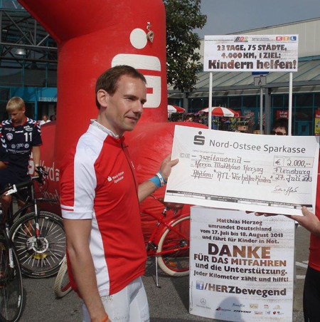 Sonntag endet die Charity Radtour von Matthias Herzog im Fördepark Flensburg