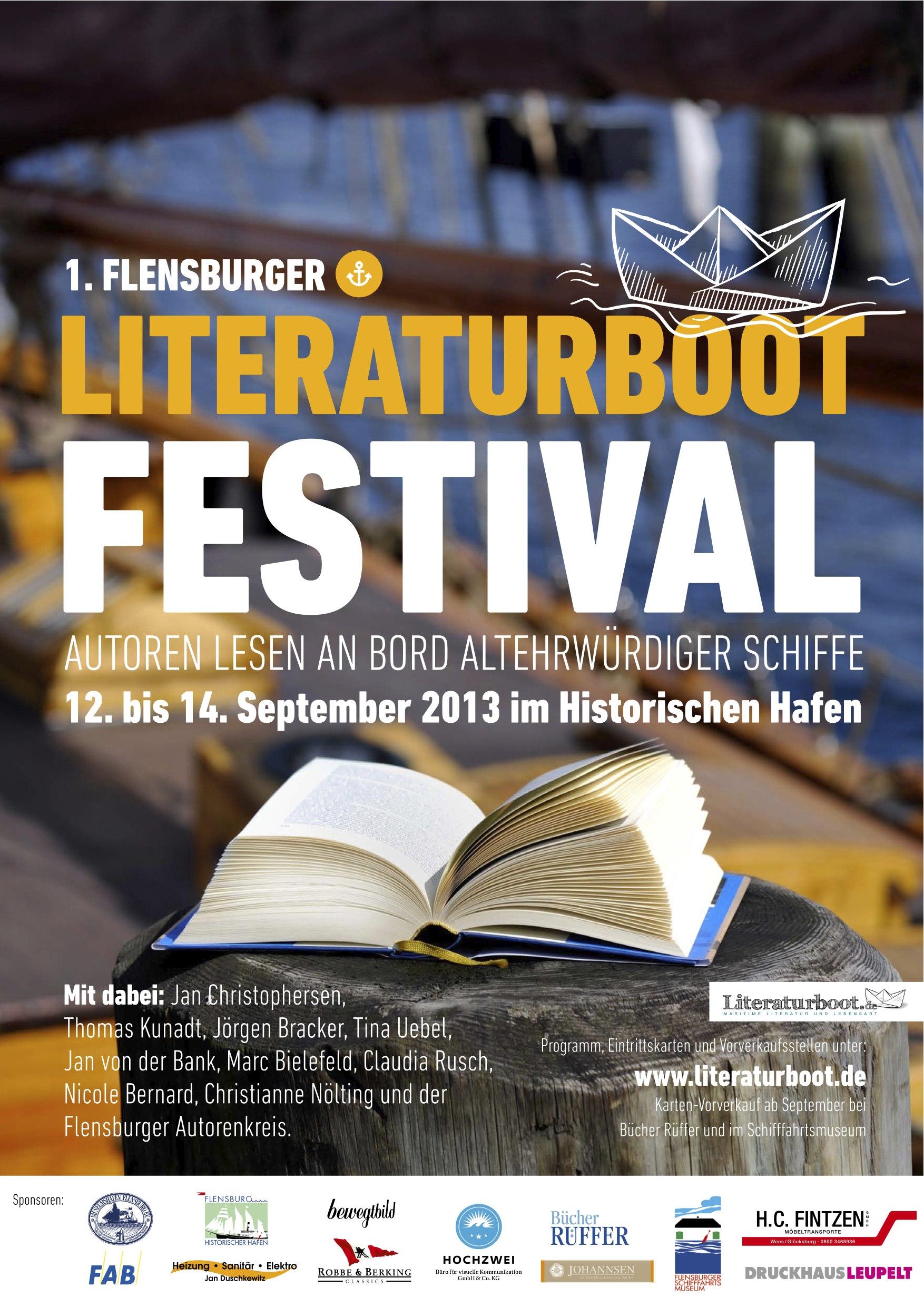 Maritimes Literaturfestival Literaturboot: 12. – 14-. September in Flensburg