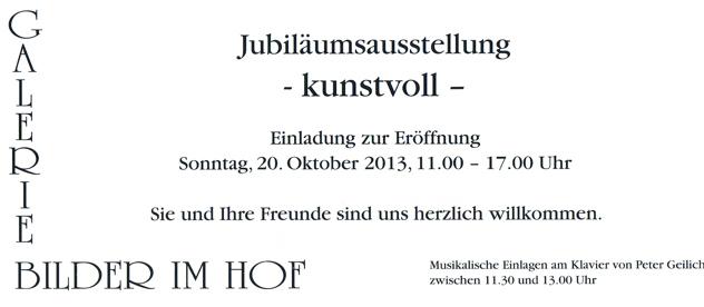 """Neue Ausstellung zum 30. Jubiläum in der Galerie Bilder im Hof –  """"kunstvoll"""""""