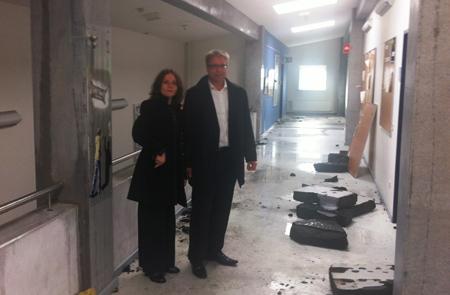 Ministerin Waltraud 'Wara'  Wende: Orkan-Schäden an der UNI Flensburg schlimmer, als ich gedacht habe