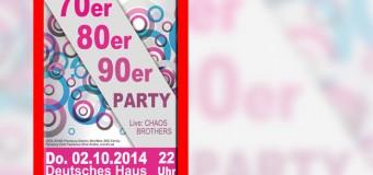 Deutsches Haus Flensburg: 70er 80er 90er Party mit den Chaos Brothers